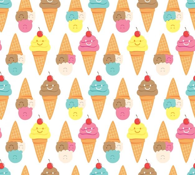 Kawaii ice cream seamless background Premium Vector