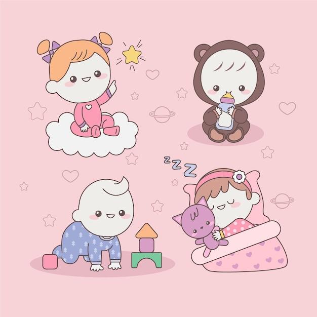 かわいい日本の赤ちゃん Premiumベクター