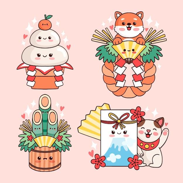 귀여운 일본 새해 장식 세트 무료 벡터