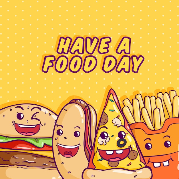 Kawaii junk food illustration with colorful doodle style on yellow Premium Vector