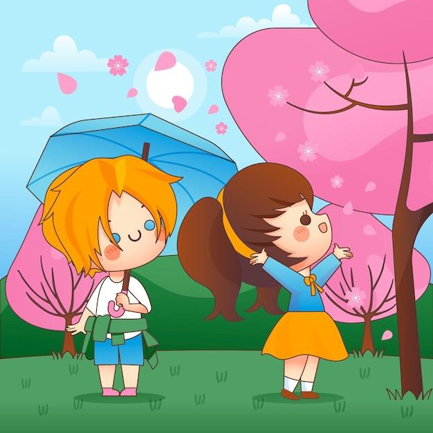 ピンクの木の隣に立っているかわいい子供たちと桜 無料ベクター