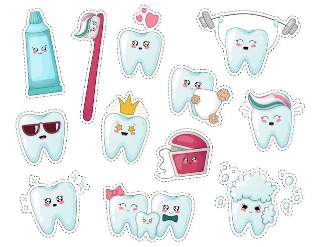 Набор наклеек kawaii kids с зубом, зубной пастой, зубной щеткой Premium векторы