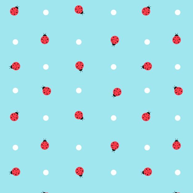 Симпатичные kawaii lady bugs прозрачный бесшовный фон Premium векторы