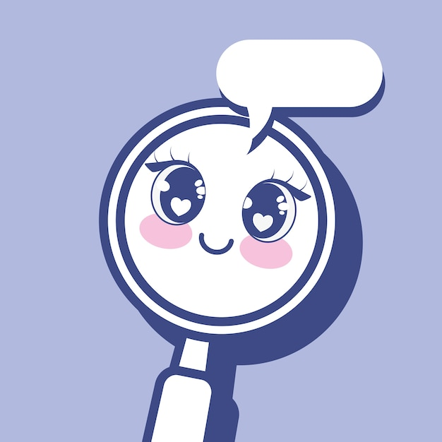 Kawaii magnifying glass icon Premium Vector