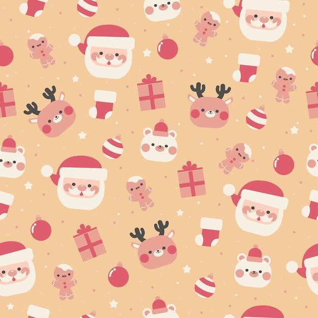 カワイイメリークリスマスシームレスパターン Premiumベクター