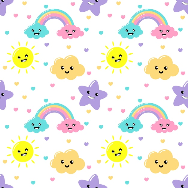 Kawaii pastel cuts weather rainbow, clouds, sun and stars cartoon with funny faces seamless pattern on white background Premium Vector
