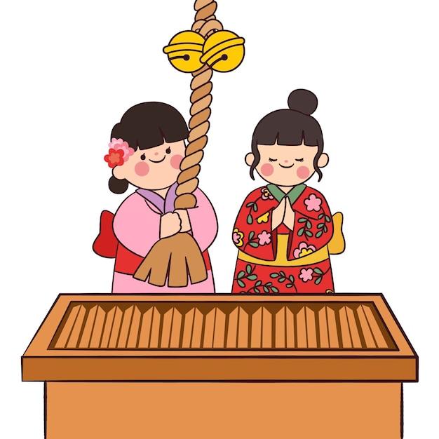 Persone kawaii che celebrano hatsumode Vettore gratuito