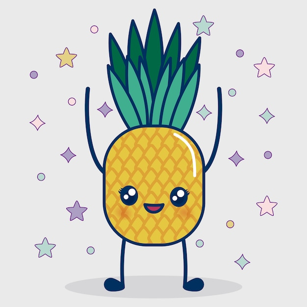 Kawaii pineapple icon Free Vector