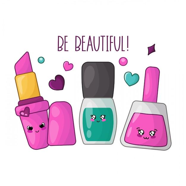 Kawaii pink lipstick, nail polishes Premium Vector