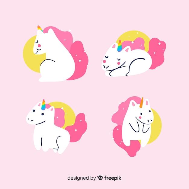 Kawaii pink unicorn character collection Free Vector