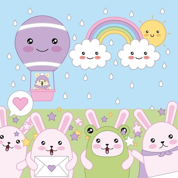かわいいウサギは、熱気球の空の漫画で親しみやすいマウス Premiumベクター