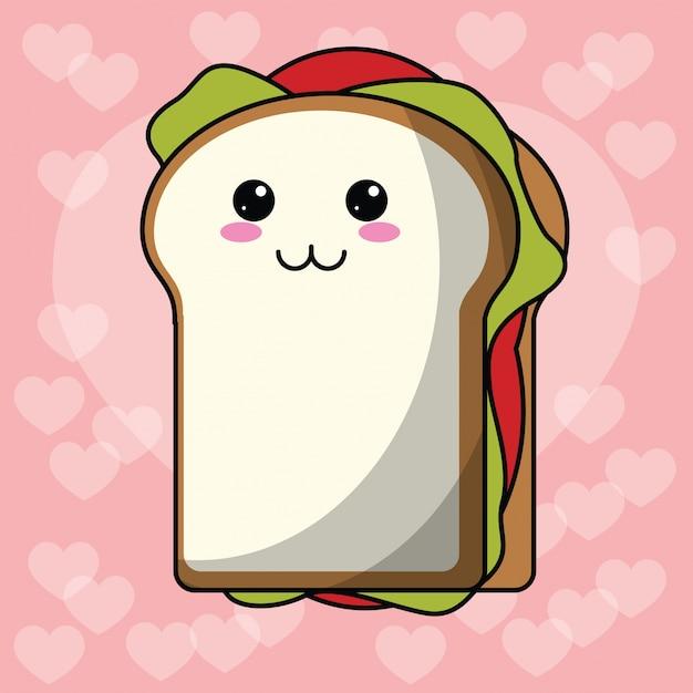 Kawaii сэндвич сердце фон Premium векторы