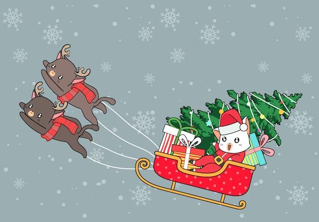 Kawaii santa cats are riding sleigh vehicle in christmas day Premium Vector