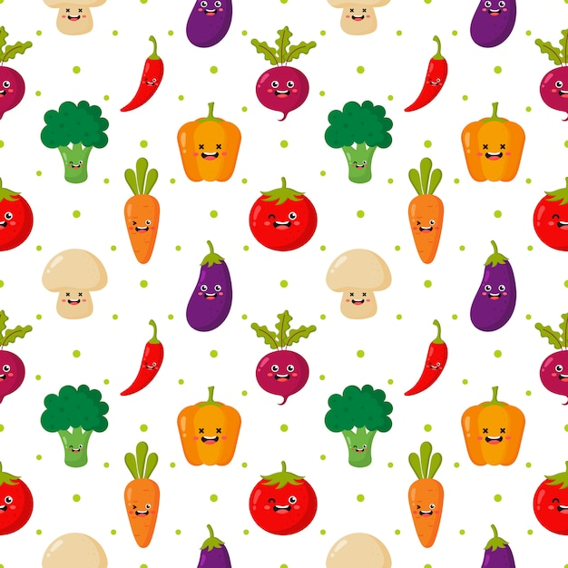 Kawaii seamless pattern cute funny cartoon vegetable characters isolated on white. Premium Vector