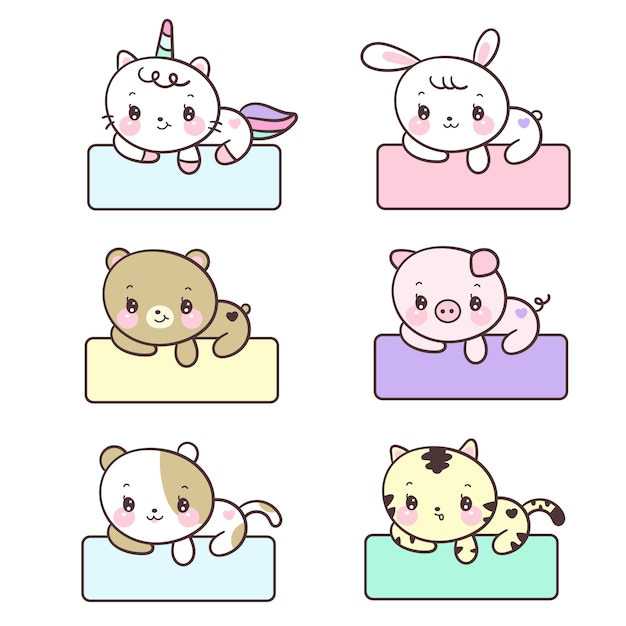 Kawaii set of animal labels Premium Vector