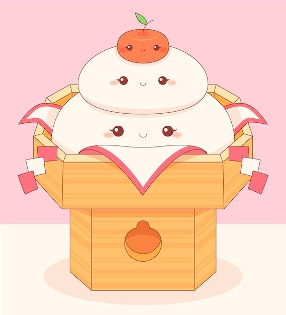 Kawaii smiley kagamimochi da mangiare Vettore gratuito