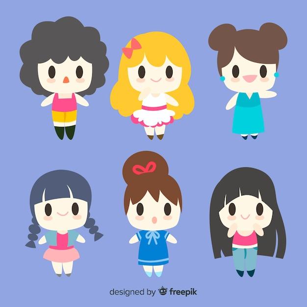Kawaii smiling girls pack Free Vector