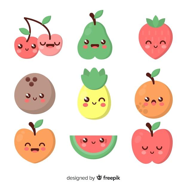 Kawaii smiling healthy food pack Free Vector