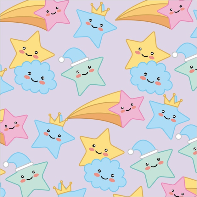 Premium Vector Kawaii Star Cloud Crown Cartoon Pattern Vector Illustration Polish your personal project or design with these cartoon crown transparent png images, make it even more personalized and more attractive. https www freepik com profile preagreement getstarted 2568354