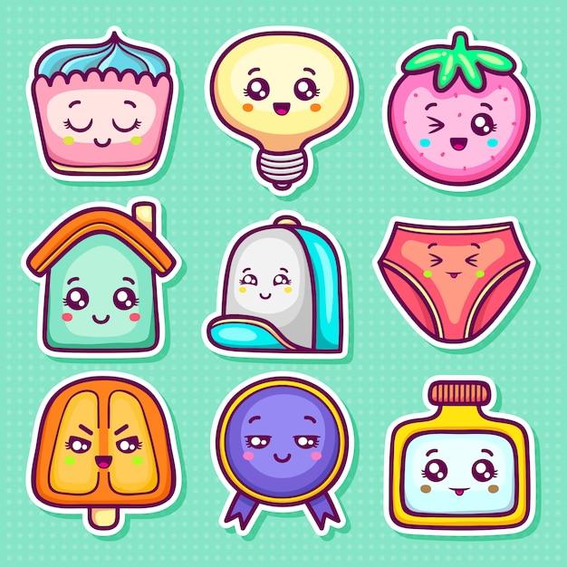 Каваи стикер иконки рисованной doodle раскраски Бесплатные векторы