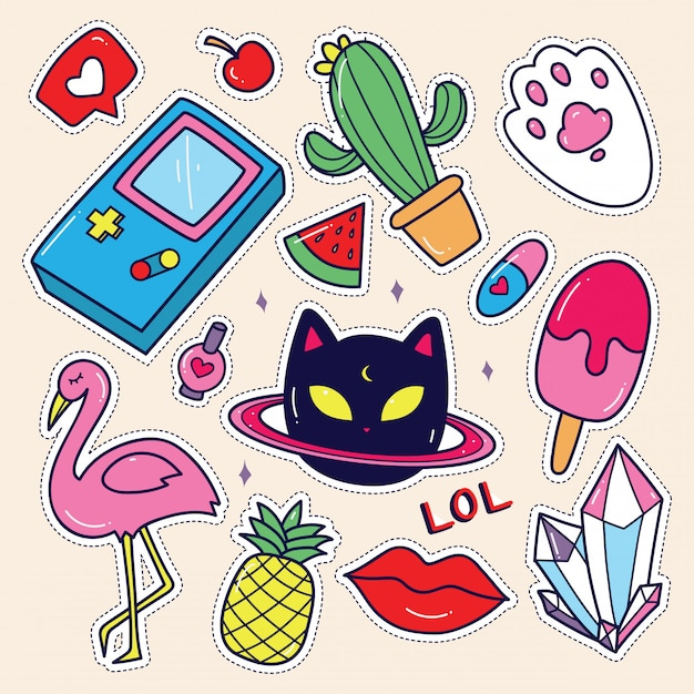 Kawaii sticker set Premium Vector
