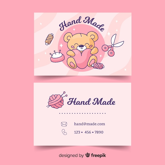 Kawaii style business card template Free Vector