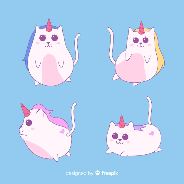Kawaii style caticorn character collection Free Vector