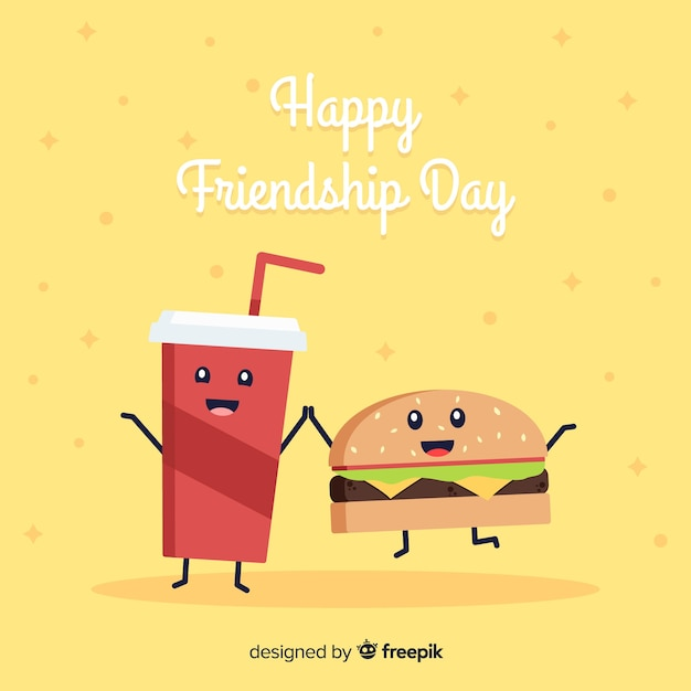 Kawaii style friendship day background Free Vector