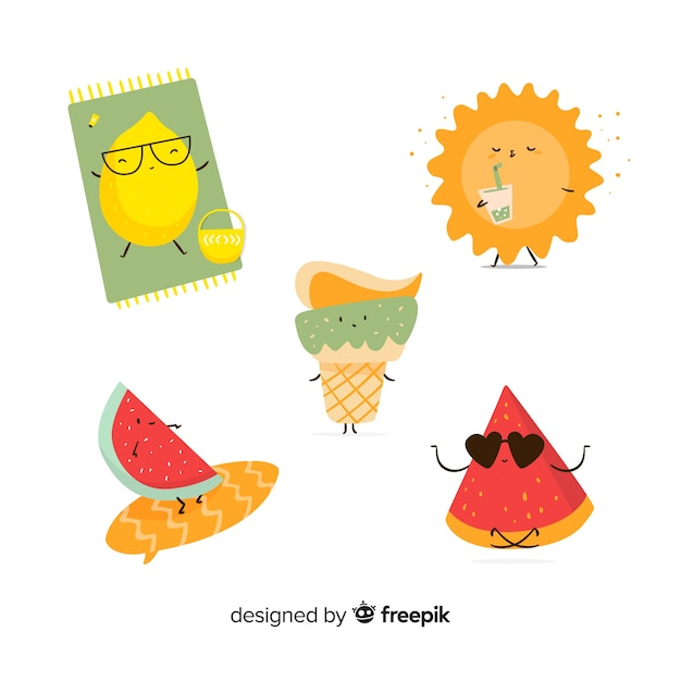 Kawaii style summer character collection Free Vector