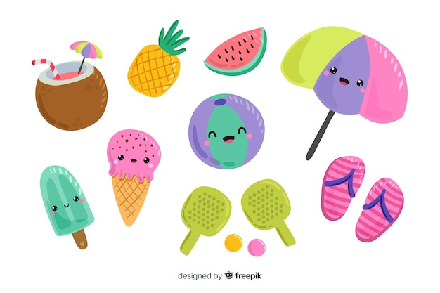 Kawaii style summer element collection Free Vector