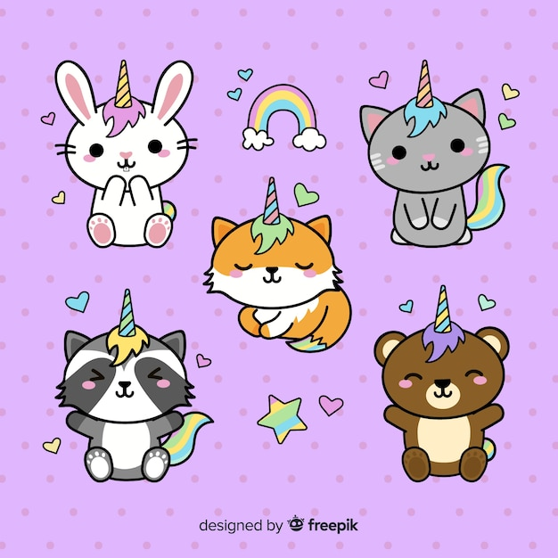 Kawaii style unicorn character collection Free Vector