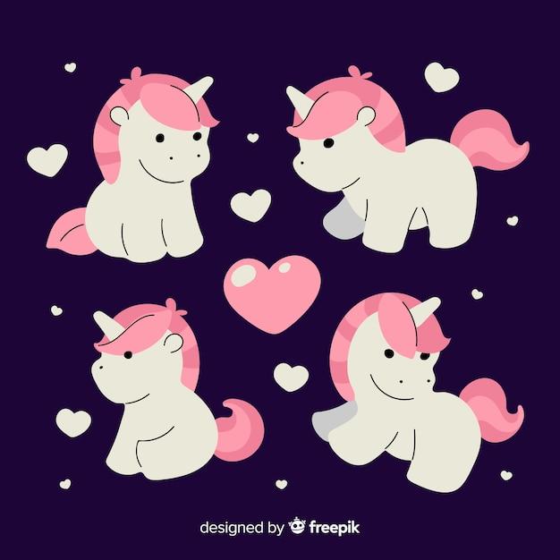 Kawaii style unicorn character collection Free Vector