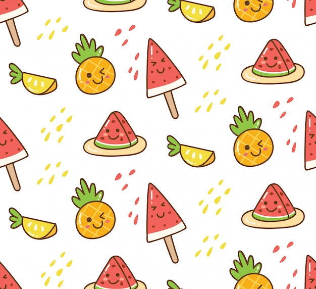 Kawaii summer background with watermelon and pineapple Premium Vector