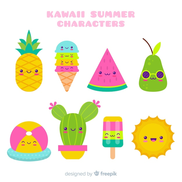 Kawaii summer character collection Free Vector