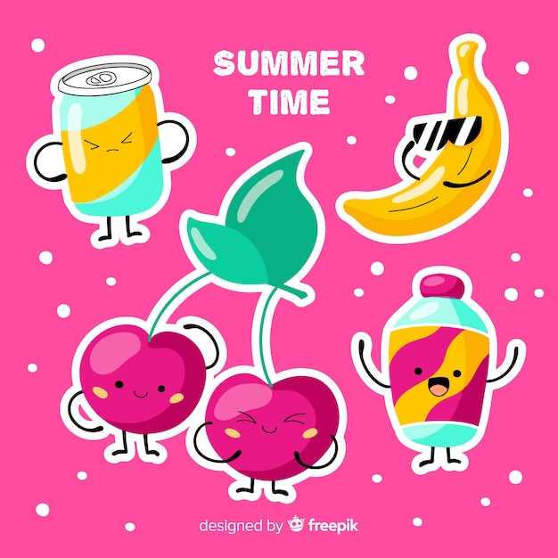 Kawaii summer character collection Free Vector
