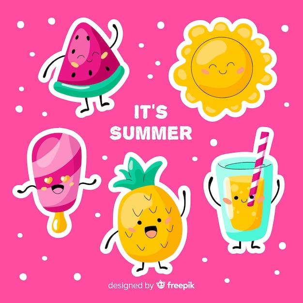 Kawaii summer character collection Vector | Free Download