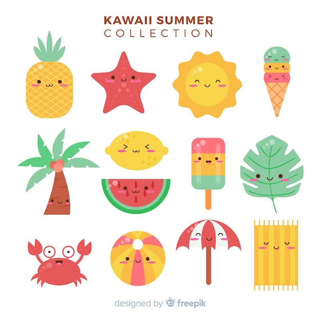 Kawaii summer characters Free Vector