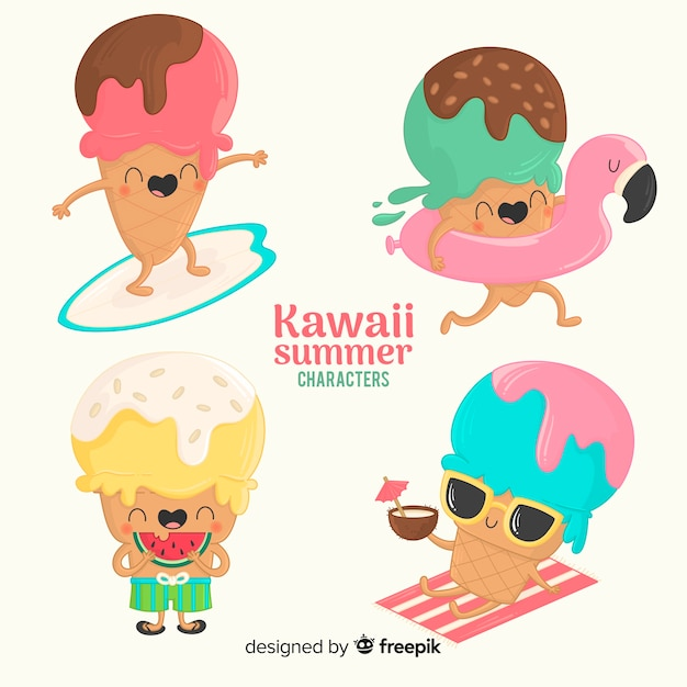 Kawaii summer characters Free Vector