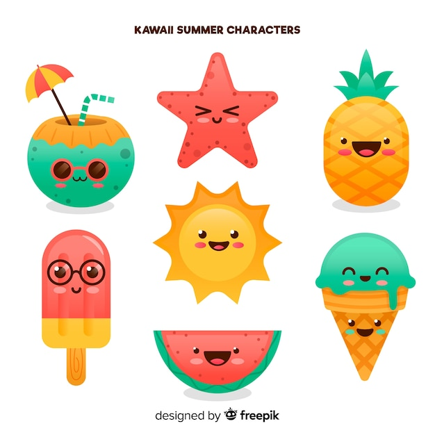 Kawaii summer elements collection Free Vector