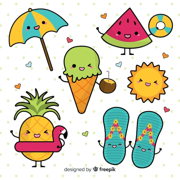 Kawaii summer elements set Free Vector