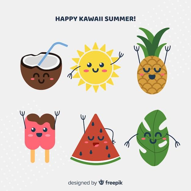 Kawaii summer elements set Free Vector