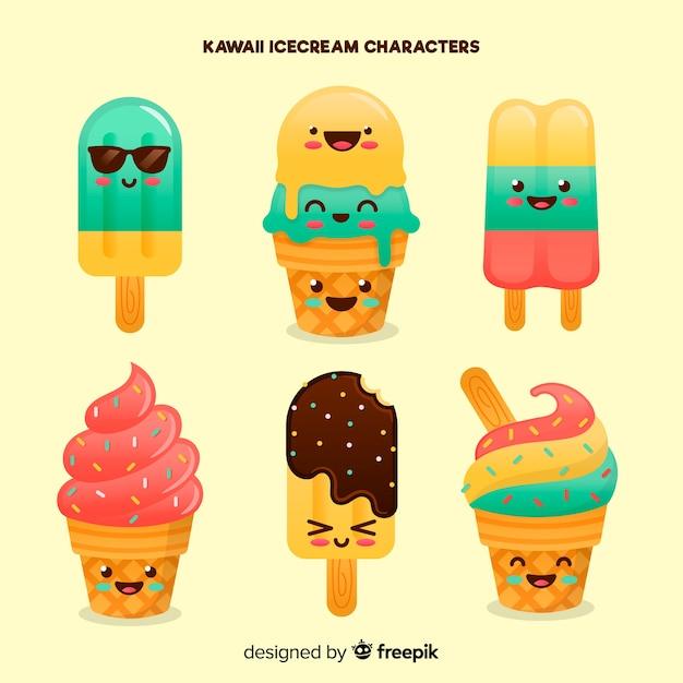 Kawaii summer ice cream collection Free Vector