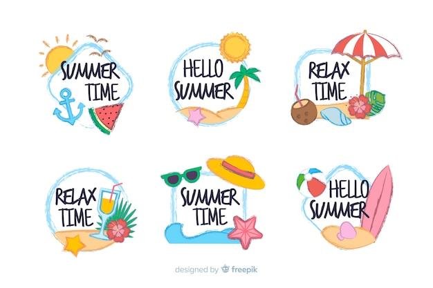 Kawaii summer sticker collection Free Vector