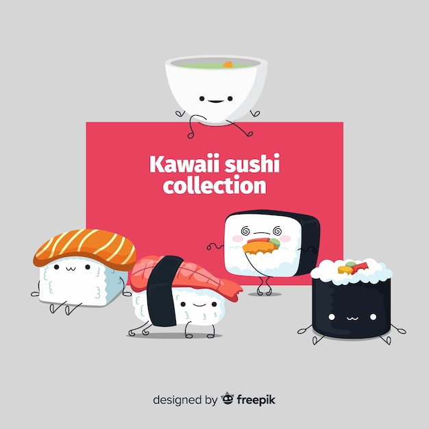 Kawaii sushi collectio Free Vector