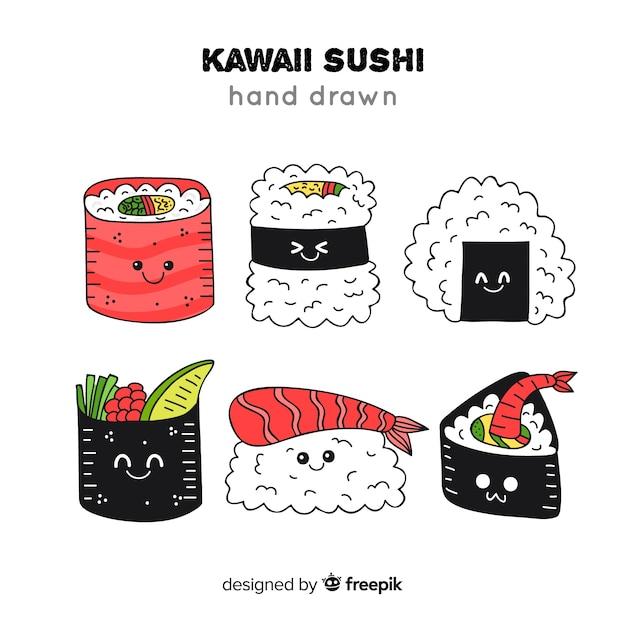 Kawaii sushi collectio Free Vector