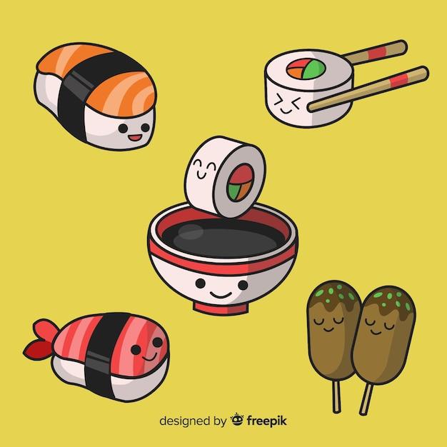 Kawaii sushi collection Free Vector