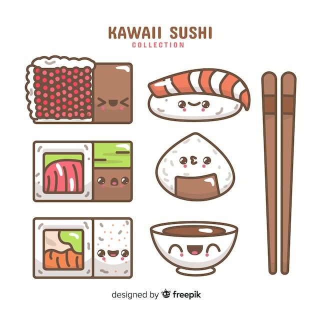 Kawaii sushi collection Free Vector