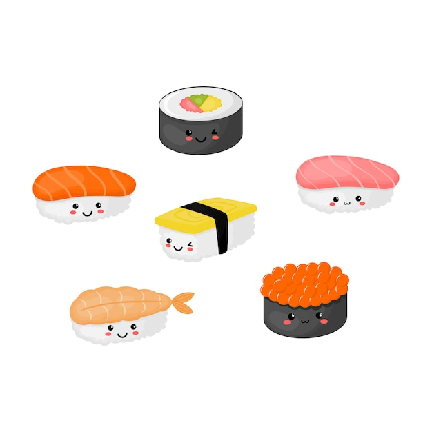 Kawaii sushi and sashimi japanese food isolated Premium Vector