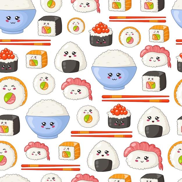 Kawaii sushi, sashimi, rolls - seamless pattern or background, cartoon emoji, manga style Premium Vector