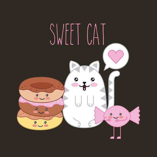 かわいい甘い猫とドーナツキャンディー漫画ベクトルイラスト Premiumベクター